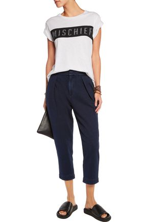 AG Jeans Pleated cotton-chambray tapered pants