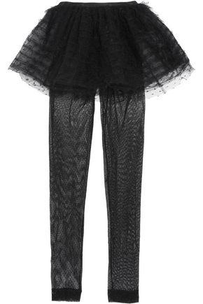 REDValentino Ruffled layered swiss-dot tulle leggings