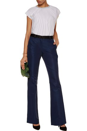 VIONNET Satin-trimmed cotton-blend bootcut pants