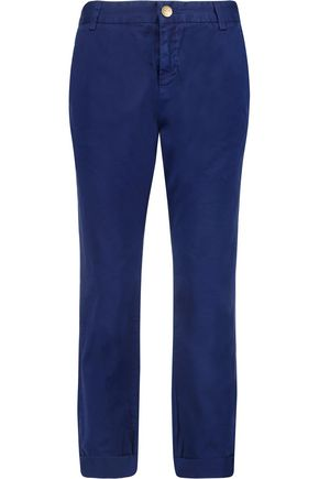CURRENT/ELLIOTT The Captain cropped cotton-twill straight-leg pants