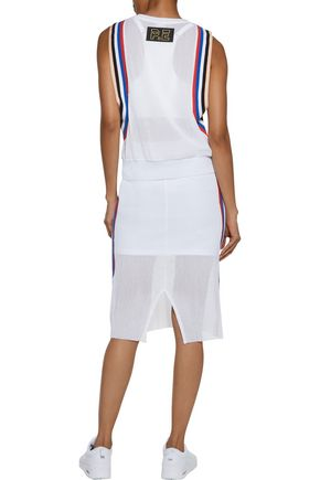 P.E NATION Off Racing striped cotton-mesh midi skirt