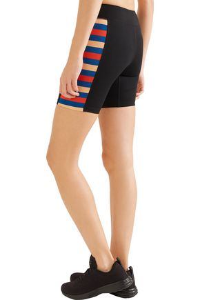 P.E NATION Joust striped stretch-jersey shorts