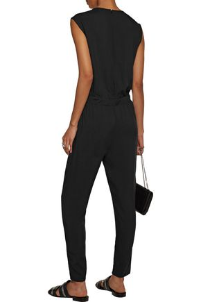 SPLENDID Cutout faux leather-trimmed voile jumpsuit