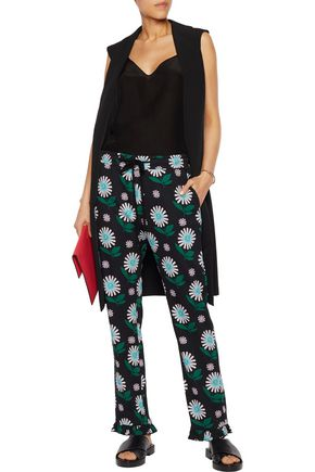 MARKUS LUPFER Ditsy Daisy printed crepe straight-leg pants