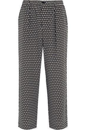 MARNI Printed silk-crepe wide-leg pants