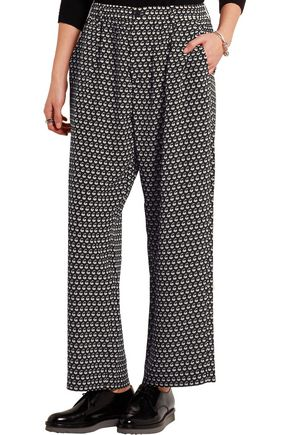 MARNI Printed silk-crepe wide-leg pants