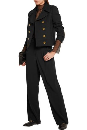 ALEXANDER MCQUEEN Grosgrain-trimmed crepe wide-leg pants
