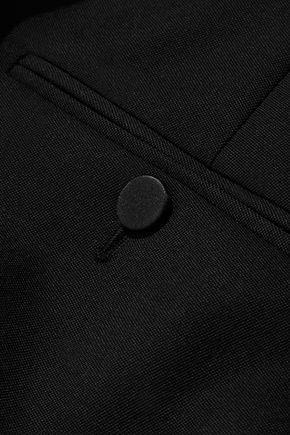 ALEXANDER MCQUEEN Satin-trimmed grain de poudre wool straight-leg pants