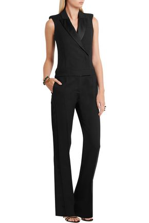 ALEXANDER MCQUEEN Satin-trimmed wool and silk-blend jumpsuit
