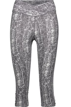 YUMMIE by HEATHER THOMSON® Candace cropped printed stretch-cotton leggings