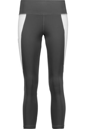 PURITY ACTIVE Cropped two-tone mesh-trimmed stretch leggings
