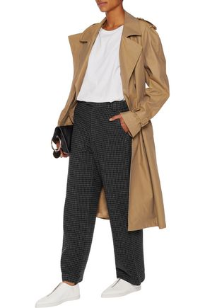 GANNI Houndstooth wool-blend pants