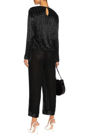 GANNI Bead-embellished mesh wide-leg pants