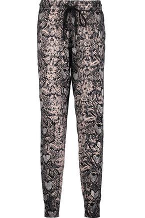 MARKUS LUPFER Snake-print cotton-jersey track pants