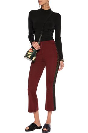 GANNI Rogers cropped lace-trimmed stretch-jersey bootcut pants