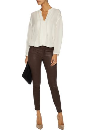 L'AGENCE Aurelie textured stretch-leather skinny pants