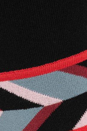 EMILIO PUCCI Intarsia knit-trimmed ponte leggings