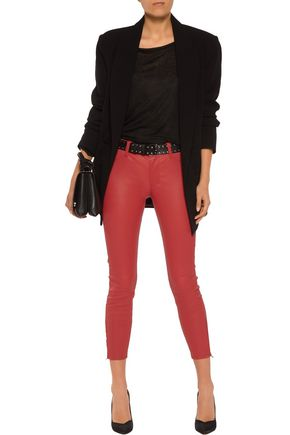 J BRAND Cropped stretch-leather skinny pants