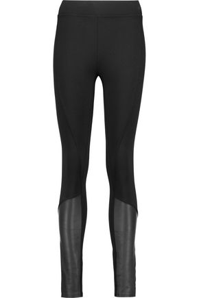 DKNY Leather-paneled ponte leggings