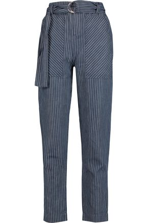 MARC BY MARC JACOBS Indigo pinstriped cotton and linen-blend chambray straight-leg pants