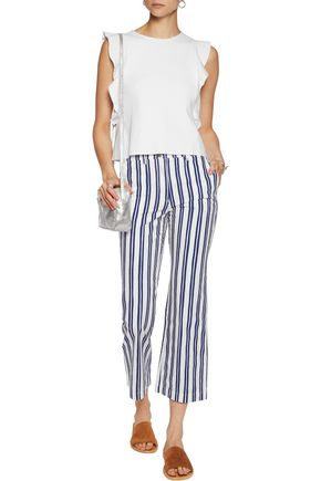 M.I.H JEANS Coler Flare cropped striped cotton straight-leg pants
