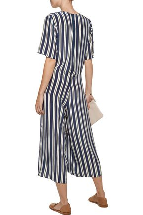 M.I.H JEANS Hart cropped striped silk jumpsuit