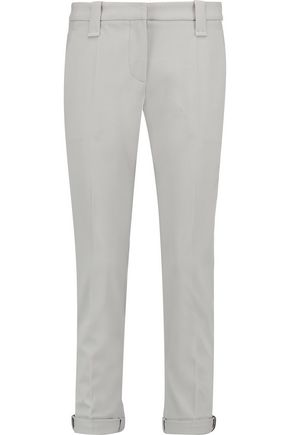BRUNELLO CUCINELLI Cropped wool-blend twill slim-leg pants