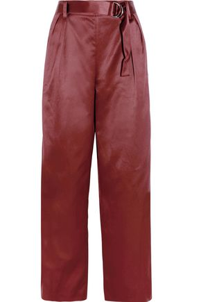 BRUNELLO CUCINELLI Cotton and silk-blend satin wide-leg pants