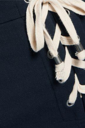 SPLENDID Lace-up cotton-blend twill wide-leg pants