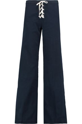 SPLENDID Lace-up cotton-blend twill wide-leg pants