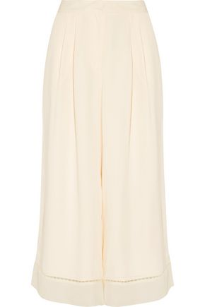 ZIMMERMANN Tuck lace-trimmed crepe cullottes