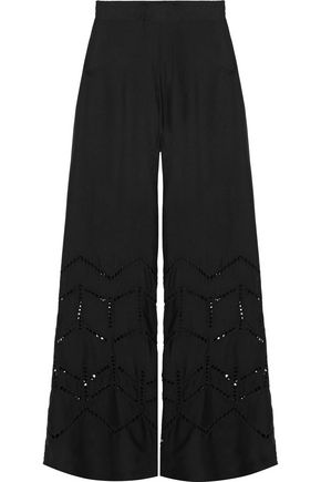 VIX Broderie anglaise voile wide-leg pants