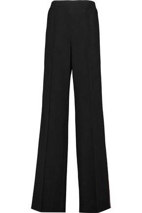 AGNONA Faux leather-trimmed cashmere wide-leg pants