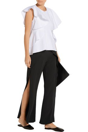GOEN.J Layered crepe wide-leg pants