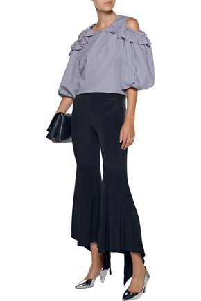 GOEN.J Cropped stretch silk-blend cady flared pants