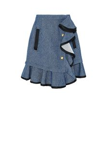 PHILOSOPHY di LORENZO SERAFINI SKIRT Woman Denim skirt with flounces f