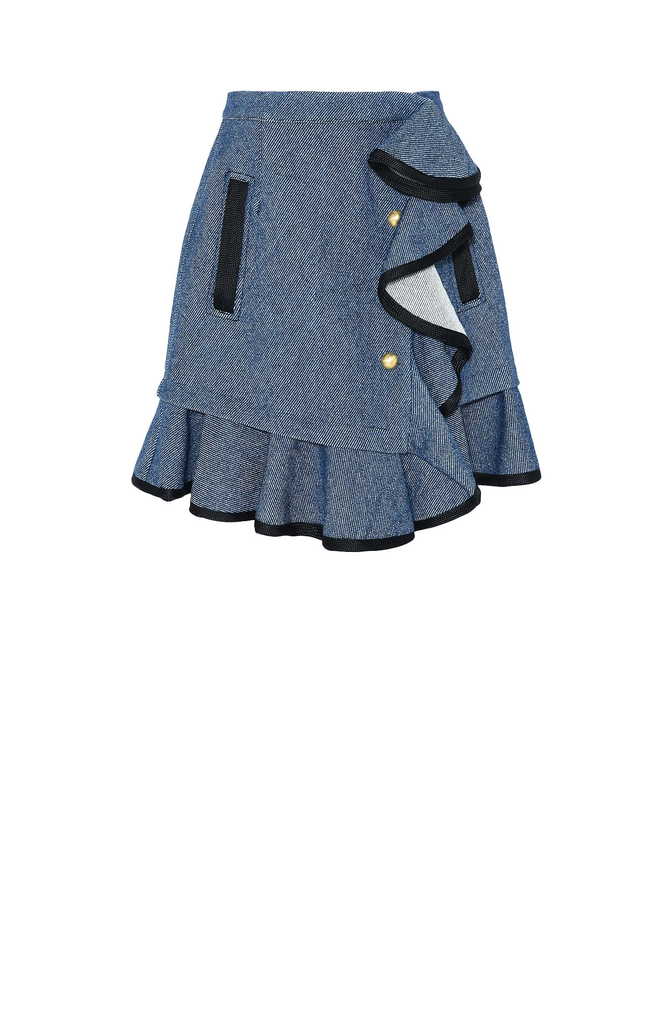 Denim skirt with flounces