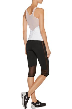 NORMA KAMALI Cropped mesh-trimmed stretch-jersey leggings