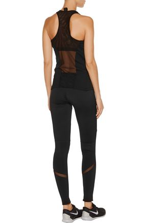 NORMA KAMALI Mesh-trimmed stretch-jersey leggings