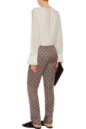 SANDRO Printed satin-twill straight-leg pants