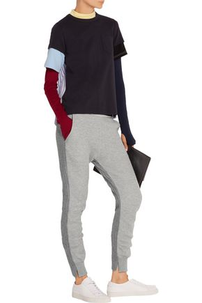 SACAI Cotton-blend jersey and wool and cashmere-blend track pants