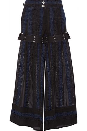 SACAI Crochet and chiffon wide-leg pants