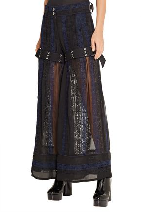 SACAI Crochet and chiffon wide-leg pants