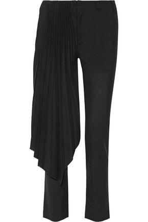 FACETASM Layered pleated wool straight-leg pants