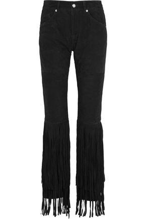 McQ Alexander McQueen Fringed faux suede slim-leg pants