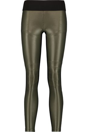 KORAL Moto paneled metallic stretch-jersey leggings