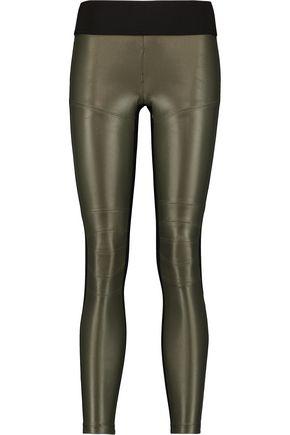 KORAL Moto paneled metallic stretch-jersey leggings
