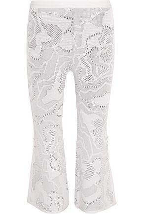 HERVÉ LÉGER Cropped crochet-knit bootcut pants