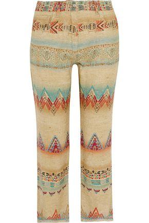 ETRO Printed silk-blend canvas straight-leg pants