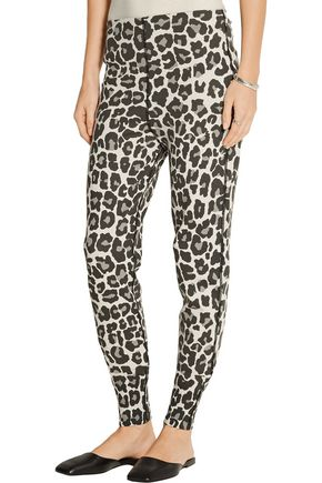 BOTTEGA VENETA Leopard-print stretch cotton-blend jersey tapered pants